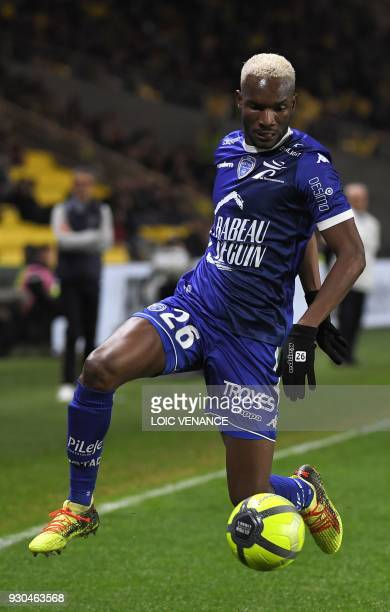 Troyes' Malian forward Adama Niane controls the ball during the French L1 football match Nantes vs Troyes at the La Beaujoire stadium in Nantes...