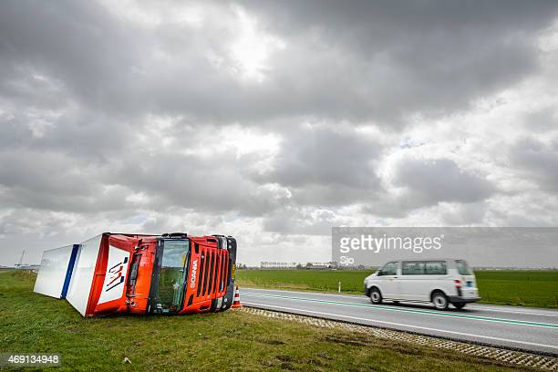 Truck accident caused by strong winds during a storm
