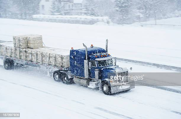 truck and blizzard - driving in snow stock photos and pictures