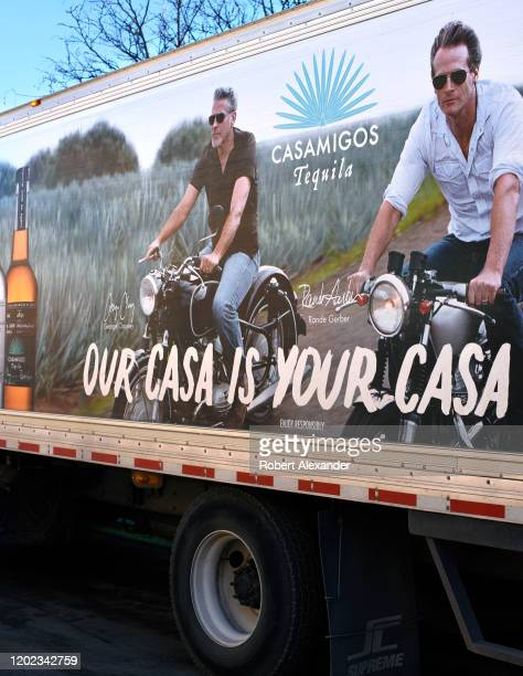 A truck and driver delivers Casamigos tequila in Santa Fe New Mexico Casamigos is a tequila company founded in 2013 by George Clooney Rande Gerber...