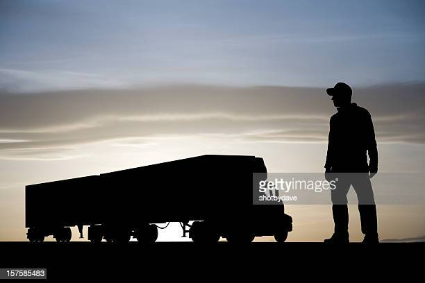 truck and driver - back lit stock pictures, royalty-free photos & images