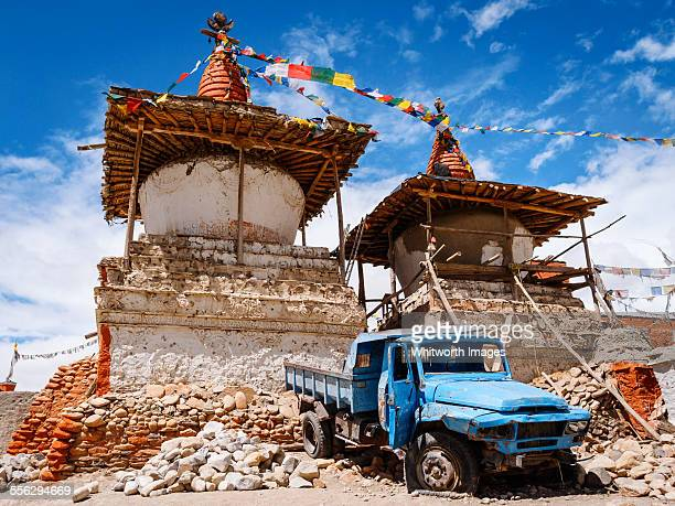 Truck and stupas in Lo Manthang Mustang Nepal