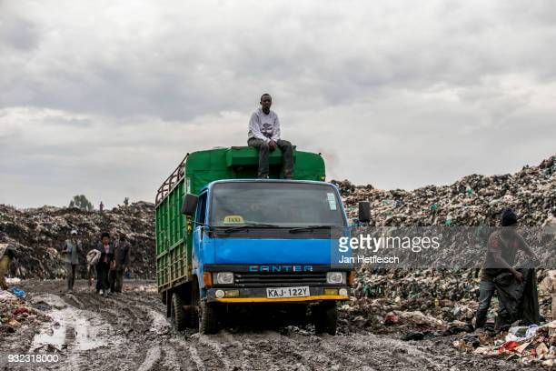 A truck arrives at the Dandora rubbish dump on March 14 2018 in Nairobi Kenya The Dandora landfield is located 8 Kilometer east of the city center of...