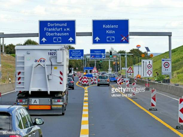 truck barrier at the entrance to the A1 The motorway bridge across the Rhine near Leverkusen is closed to heavy traffic because of the high burden of...