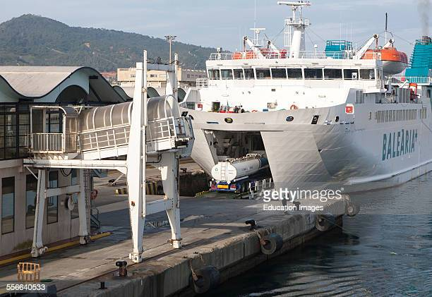 Truck boarding Balearia vehicle ferry at Ceuta Spanish territory in north Africa Spain