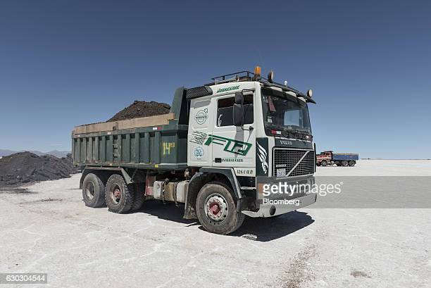 A truck carries soil during the construction of new industrial area inside the Salar de Uyuni in Potosi Bolivia on Saturday Dec 10 2016 Bolivia has...