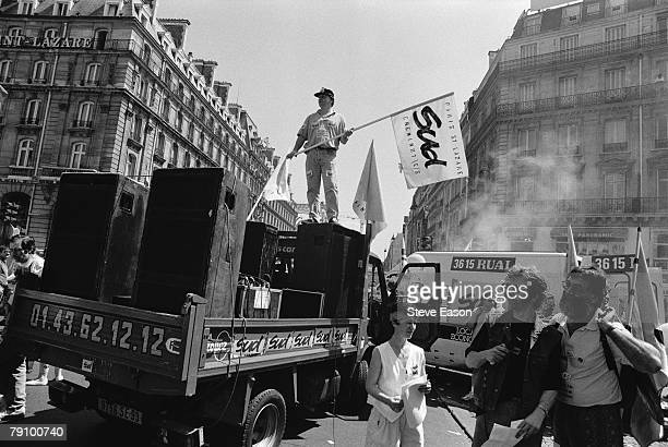 A truck carrying large loudspeakers in a Paris street during a demonstration by the French union federations the CGT FO and SUD against the planned...