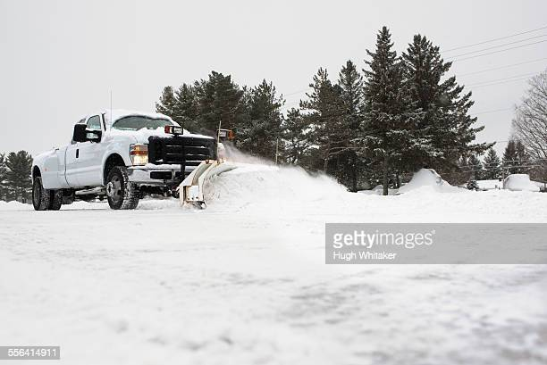 Truck clearing snow