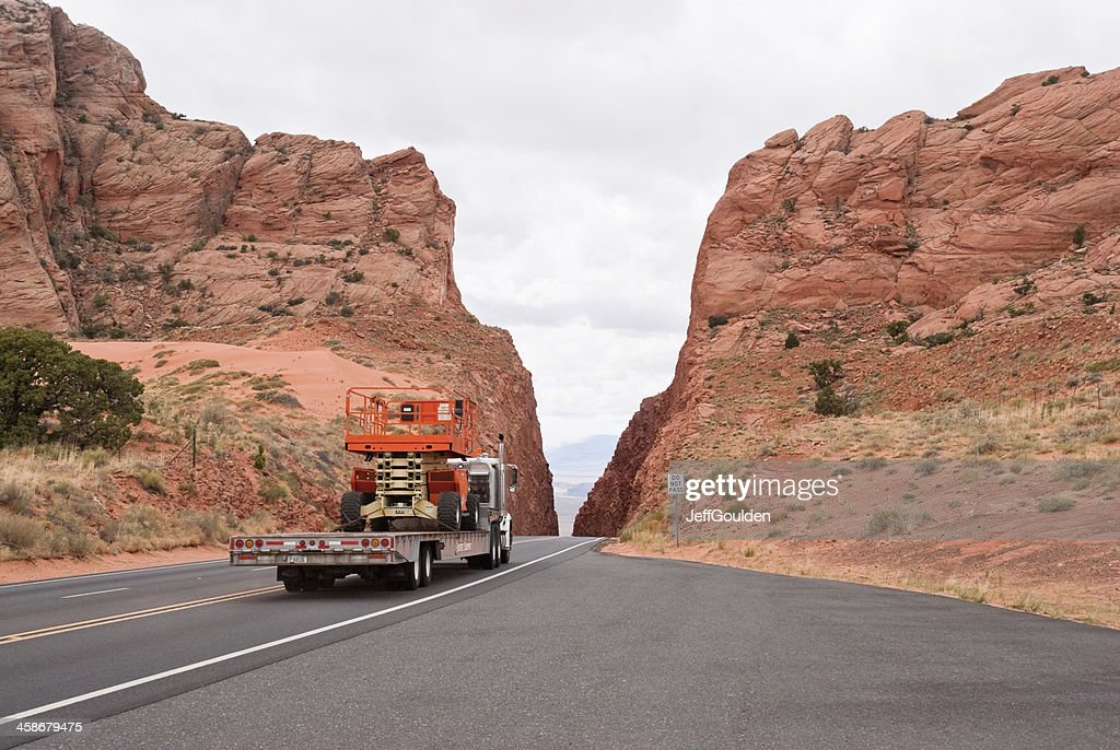 Truck Crossing a Mountain Pass : Stock Photo