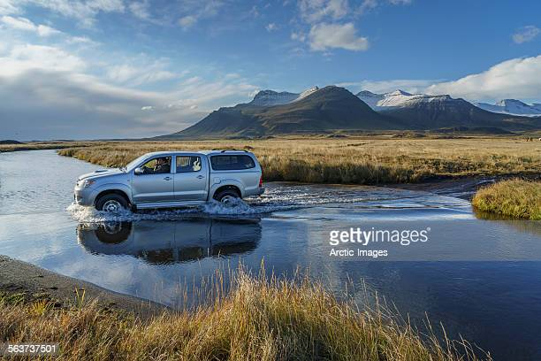 Truck crossing a river, Iceland
