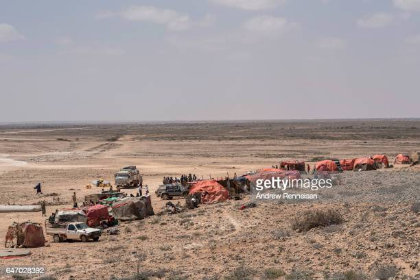 A truck delivers water to an IDP camp on February 24 2017 in Karin Sarmayo Somalia Brief rains brought an estimated 100000 people to the region in...