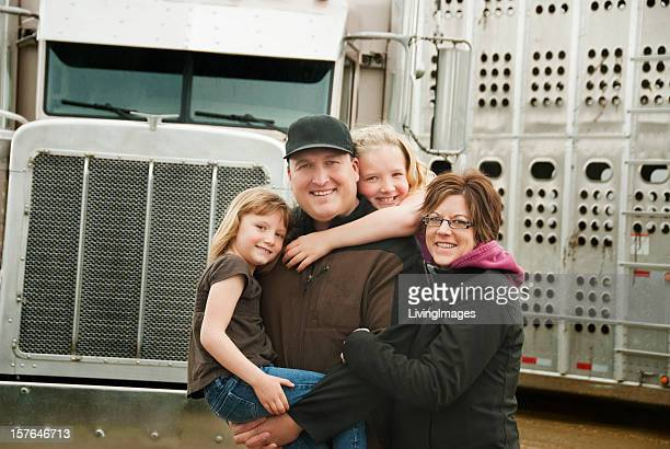 truck driver and his family - common stock pictures, royalty-free photos & images