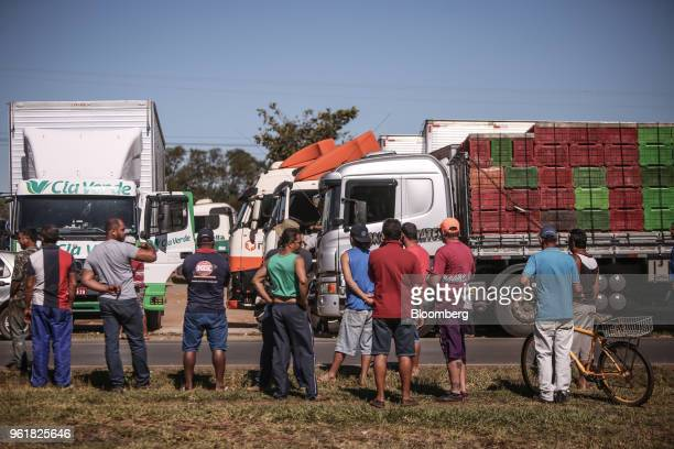 Truck drivers gather on BR 040 highway during a protest against rising fuel prices in Luziania Brazil on Wednesday May 23 2018 Brazilian politicians...