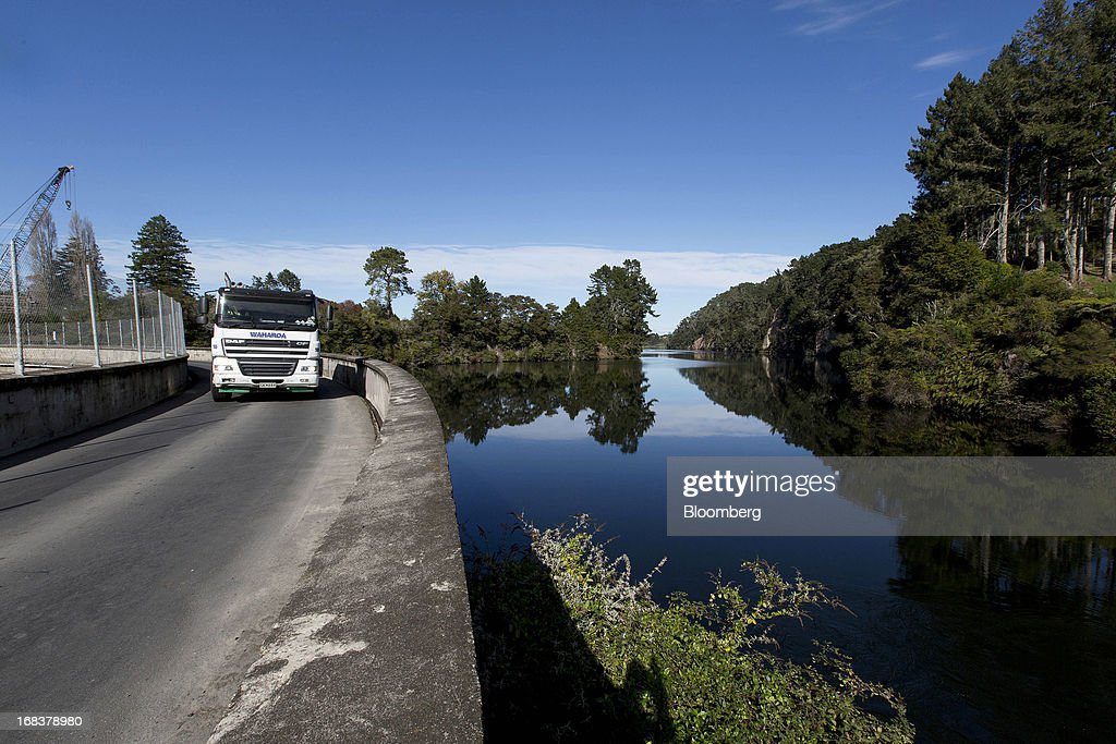 A truck drives along the dam at the Arapuni hydroelectric power station, operated by Mighty River Power Ltd., in Arapuni, New Zealand, on Wednesday, May 8, 2013. New Zealand raised NZ$1.7 billion ($1.4 billion) from the sale of Mighty River shares as the nation's biggest initial public offering closed at a price at the lower end of the indicative range. Photographer: Brendon O'Hagan/Bloomberg via Getty Images