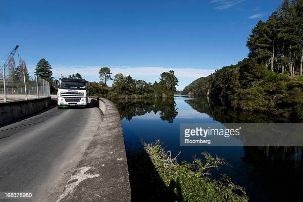 A truck drives along the dam at the Arapuni hydroelectric power station operated by Mighty River Power Ltd in Arapuni New Zealand on Wednesday May 8...