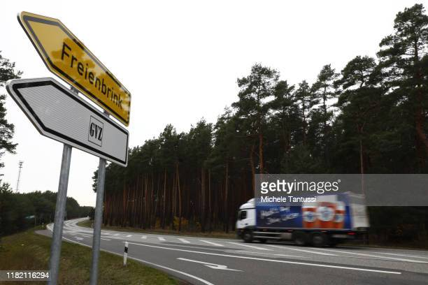 A truck drives by a forest believed to be the place where Tesla will build theirs facilities at the edge of the Industrial area of Freienbrink as...