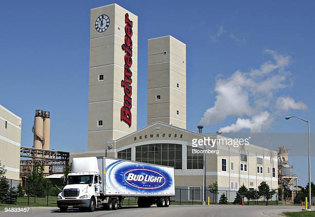 A truck drives outside the AnheuserBusch brewery in Columbus Ohio US on Monday July 14 2008 AnheuserBusch InBev NV the brewer created in a $52...