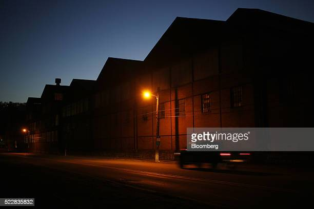 A truck drives past part of the former Bethlehem Steel Corp plant now occupied by Gautier Steel Ltd in downtown Johnstown Pennsylvania US on Thursday...