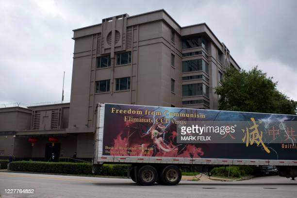 Truck drives past the Chinese consulate in Houston on July 24 after the US State Department ordered China to close the consulate. - The US ordered...