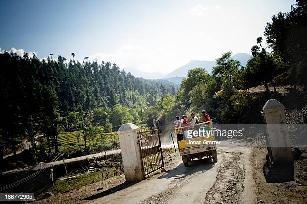 A truck drives through 'The Line of Control' gate which is a 2 milewide no man's land at the border between India and Pakistan It is also said that...