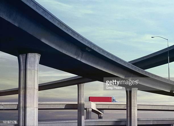 Truck driving on highway (digital enhancement)