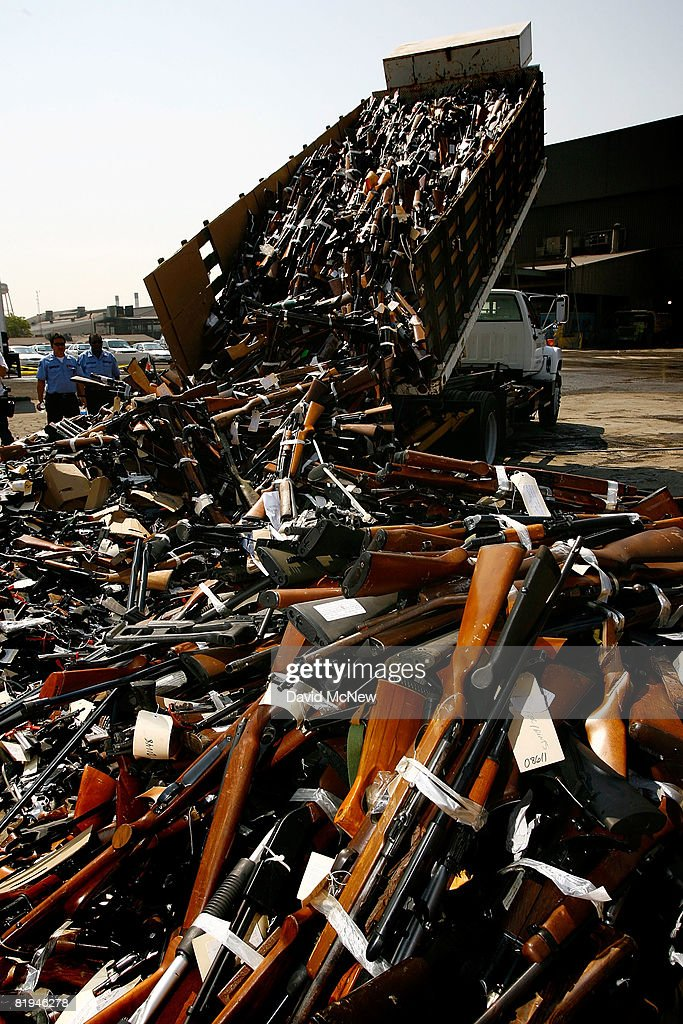 L.A. County Sheriff Destroys Confiscated Weapons : News Photo
