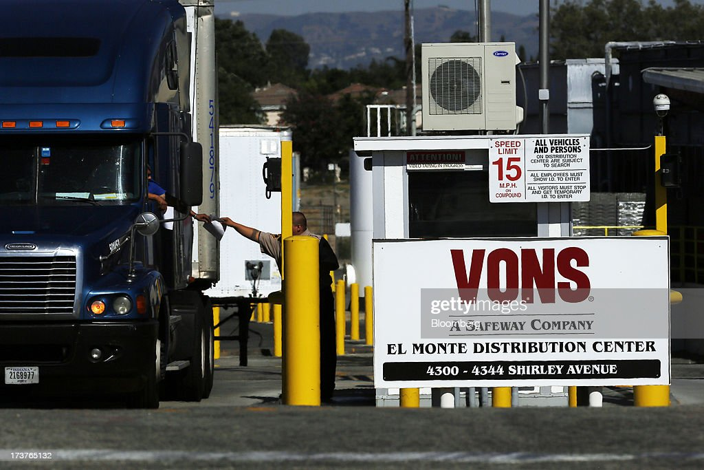 A truck exits the VONS, a subsidiary of Safeway Inc., El Monte Distribution Center in El Monte, California, U.S., on Tuesday, July 16, 2013. Safeway Inc. is scheduled to release earnings figures on July 18. Photographer: Patrick T. Fallon/Bloomberg via Getty Images