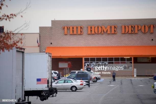 A truck features an American flag outside a Home Depot where Sayfullo Saipov the suspect who drove a pickup truck on a bike path in lower Manhattan...