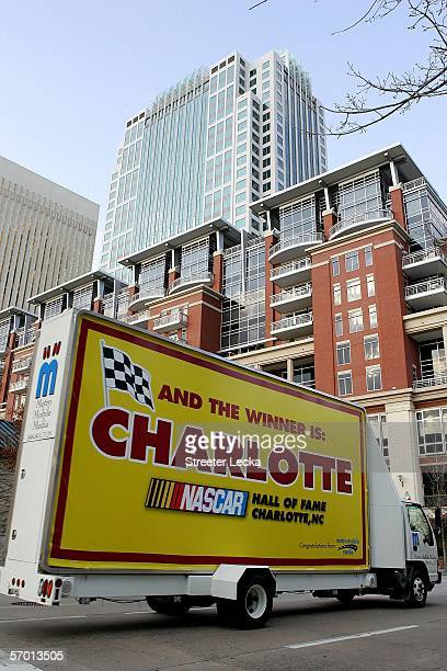 A truck goes through Center City in Charlotte after a press conference announced that the new home of the NASCAR Hall of Fame will be Charlotte North...