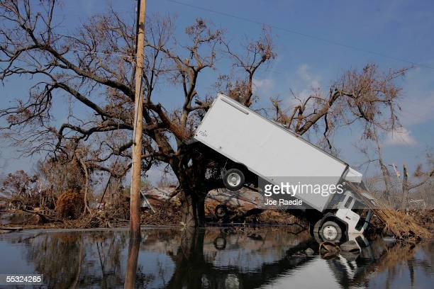 Truck hangs against a tree after Hurricane Katrina passed through, September 9, 2005 in Empire, Louisiana. Most of the area throughout the...