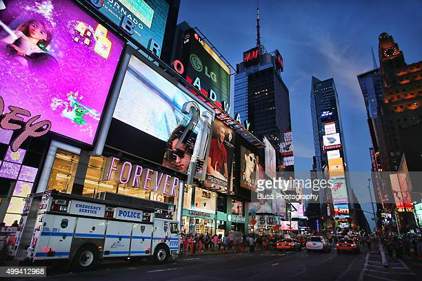 NYPD truck in Times Square, Midtown Manhattan, New York City