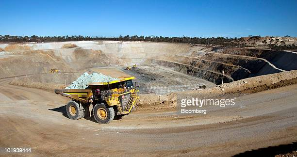 Truck is driven out of Western Areas NL's Tim King Pit open-cut nickel mine at Spotted Quoll, in Forrestania, Western Australia, on Thursday, June...