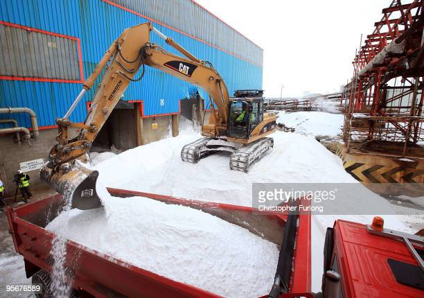 A truck is loaded with an emergency load of salt at the Ineos Chemical plant on January 10 2010 in Runcorn United Kingdom Chemical firm Ineos will be...