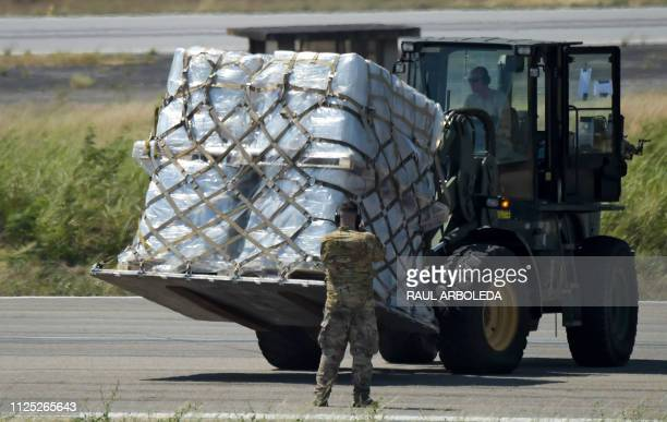 A truck is loaded with humanitarian aid for Venezuela after US Air Force C17 aircrafts landed at Camilo Daza International Airport in Cucuta Colombia...