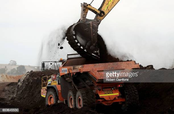 A truck is loaded with old coal on March 16 2017 in Melbourne Australia In November 2016 French owners of the Hazelwood Power Station Engie announced...
