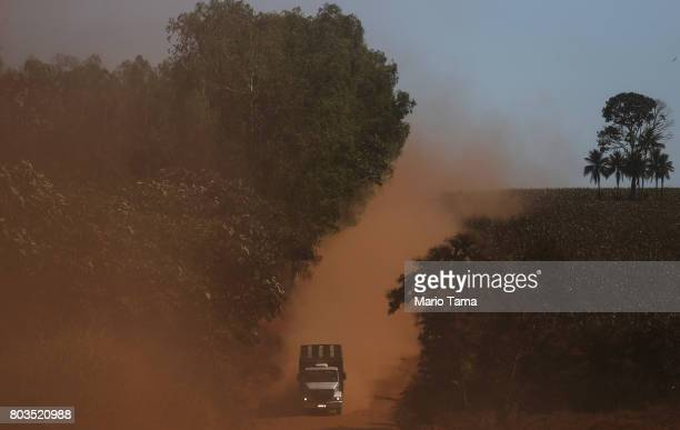 A truck kicks up Amazon soil as it travels in a deforested section of the Amazon rainforest on June 28 2017 near Chupinguaia Rondonia state Brazil...