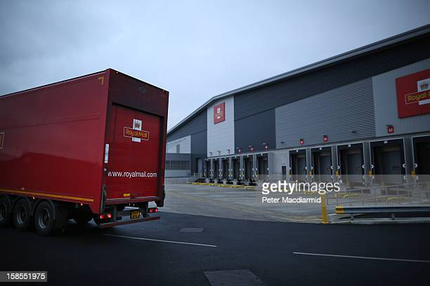 A truck leaves Royal Mail's Medway Sorting Centre on December 18 2012 in Rochester England The recently opened £70 million mail centre replaces four...