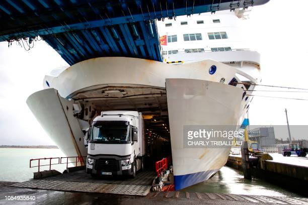 A truck leaves the Mont SaintMichel ferry boat which arrives from Portsmouth on October 26 2018 in the port of Ouistreham northwestern France The 173...