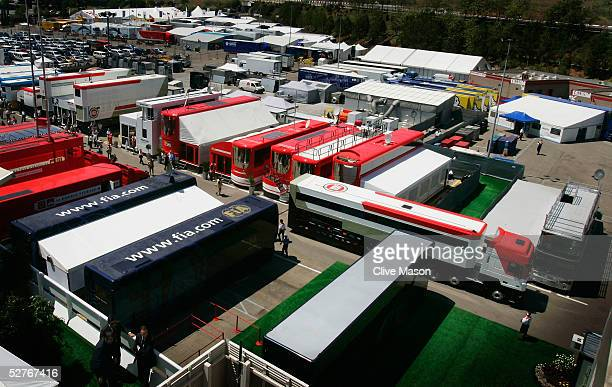 Truck leaves the paddock before practice for the Formula One Spanish Grand Prix at the Circuit de Catalunya on May 6, 2005 in Barcelona, Spain.