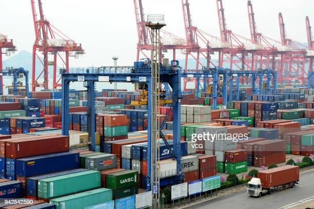 A truck moves a shipping container at Lianyungang Port on April 5 2018 in Lianyungang China China will fight back at any cost Chinese authorities...