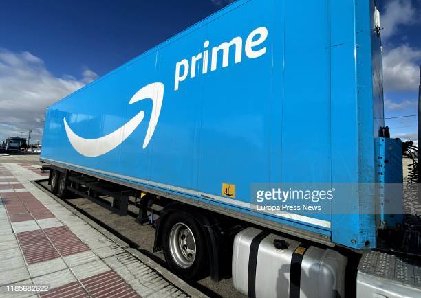 A truck of Amazon Prime parked at the logistic plant of Amazon in San Fernando de Henares on November 05 2019 in Madrid Spain