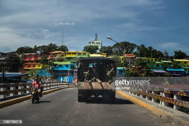 A truck of soldiers arrive to secure the city during polls on January 21 2019 in Cotabato City southern Philippines Nearly three million Filipinos in...
