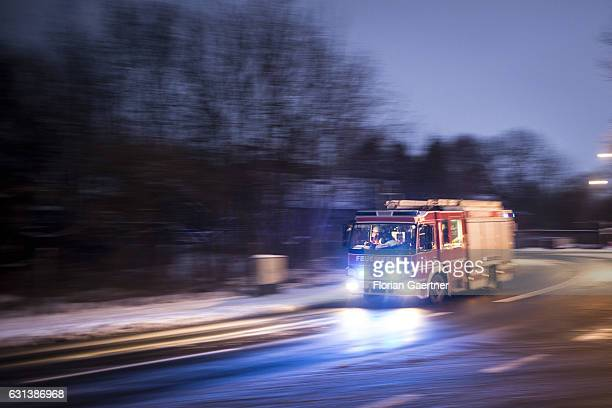 A truck of the fire brigade with emergency lights on are pictured on January 09 2017 in Goerlitz Germany