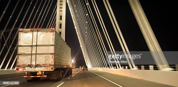 Truck on Bay Bridge at night