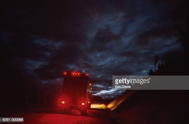 Truck on Highway at Night