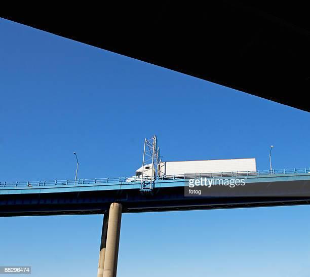 Truck on highway overpass