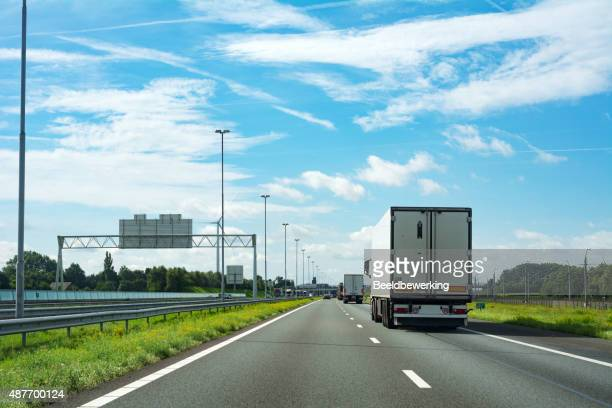 Truck  on highway (right drive)
