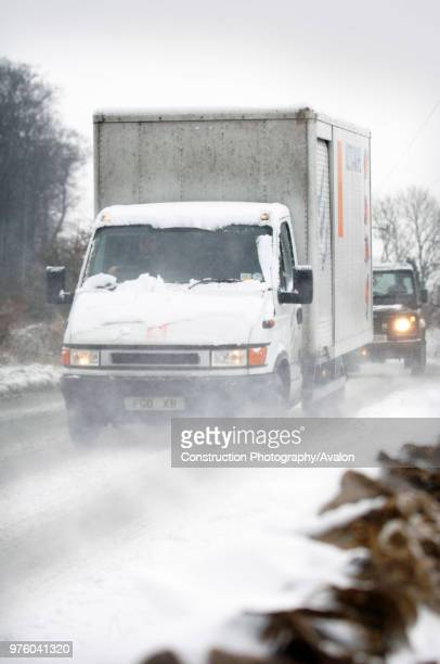 Truck on snowcovered road