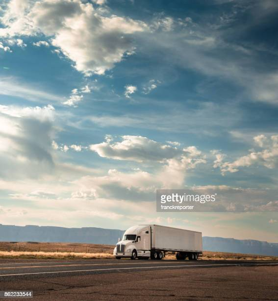 truck on the road on the route 66 - trucking stock pictures, royalty-free photos & images