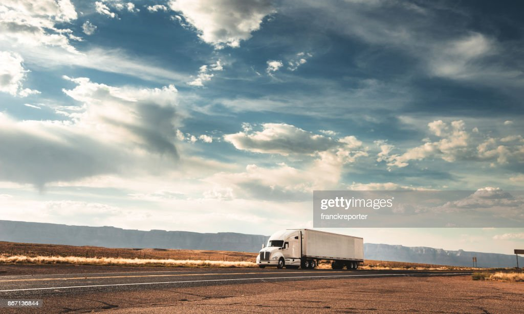 truck on the road on the route 66 : Stock Photo